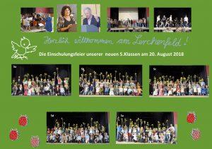 Unsere fünf neuen 5. Klassen bei ihrer Einschulungsfeier im August 2018 – herzlich willkommen am Gymnasium Lerchenfeld!
